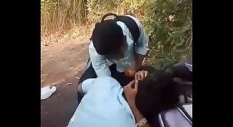 Indian school students enjoying kissing boob pressing
