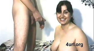 Desi nice muslim Mom sucking neighbour boy's dick & guzzles cum semen