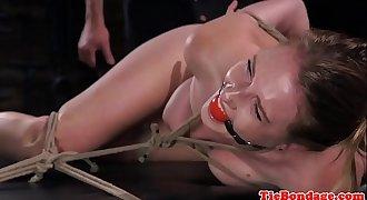 Tied up restrain bondage sub whipped and spanked