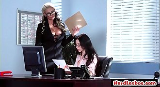 Big-titted Secretary Pusnihed Hard By Lesbo Manager 02