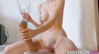 Sweet College Camgirl Puts 2 Toys Inside Her Cute Holes