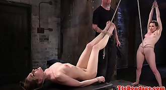 Maledom pegs subs pussy before oral lovemaking trio