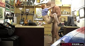 Redhead and horny Dolly Little gets hammered in Shawns office