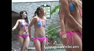 Filipina.webcam girls get naked for biknini party in Asian butt shaking show