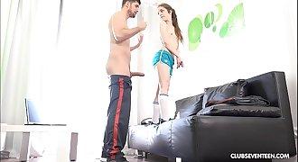 Tiny teen pornstar fucking big cock
