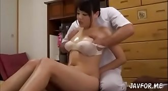 Asian girl hit by orgasm during rubdown
