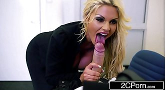 Blonde Bimbo Candy Sexton Puts Her Dick-Sucking Lips to Work in Her First Scene