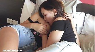Hot lesbian Mary Kalisy having joy with Asian teen