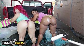 BANGBROS - At The Car Wash With Cherokee & Pinky On Ass Parade!