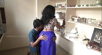 Indian mom and son romance in kitchen