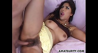Amateur hairy Latina girlfriend assfuck with facial cumshot