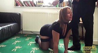 Spunk eating subslut Ashley Rider disciplined by Master
