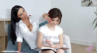 Lesson desires by Sapphic Erotica - sensual lesbian scene with Kyra Queen Veronic