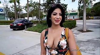 Hot Latina flashed big tits outdoor