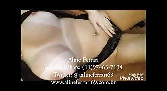 Aline usa lingerie preta e mostra tudinho!