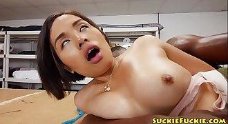 Blackdick sucking asian fledgling assfucked