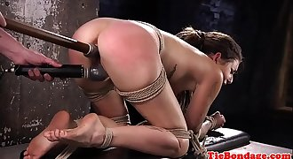 Ball gagged subs pussy toyed using vibrator