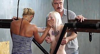 Blonde slave in Sadism & Masochism action