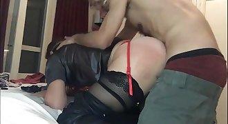 T&A 249 - Spandex, Garter Belt, Stockings, Satin Panties, Heels